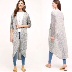 Anthro Gray Drop stitch Open Front Duster XS